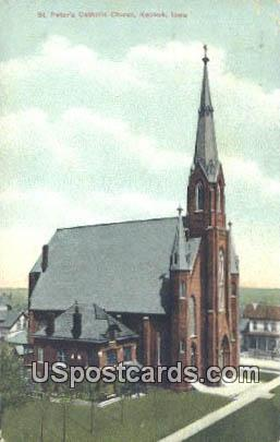 St Peter's Catholic Church - Keokuk, Iowa IA Postcard