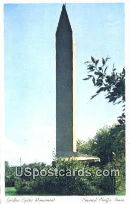 Golden Spike Monument - Council Bluffs, Iowa IA Postcard