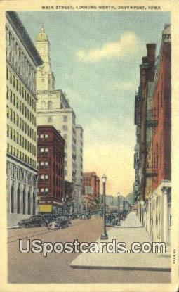 Main Street - Davenport, Iowa IA Postcard