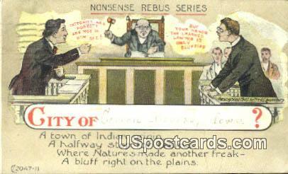 Nonsense Rebus Series - Council Bluffs, Iowa IA Postcard