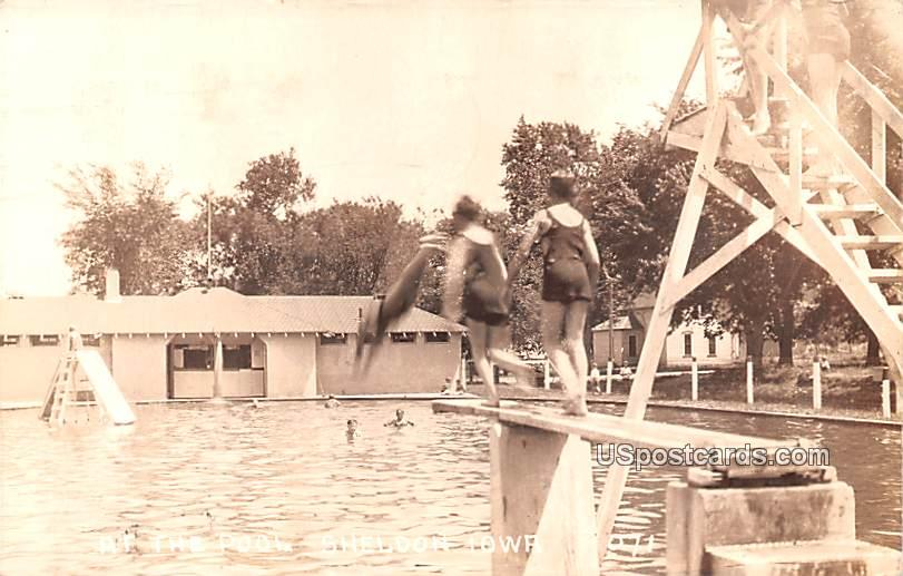 At the Pool - Sheldon, Iowa IA Postcard