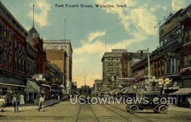 Fourth Street - Waterloo, Iowa IA Postcard