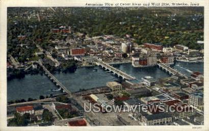 Aeroplane View of Cedar River - Waterloo, Iowa IA Postcard