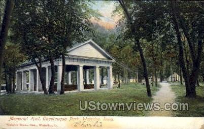 Memorial Hall, Chatauqua Park - Waterloo, Iowa IA Postcard