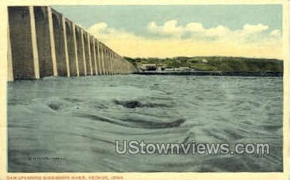 Dam Spanning Mississippi River - Keokuk, Iowa IA Postcard