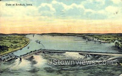 Dam - Keokuk, Iowa IA Postcard