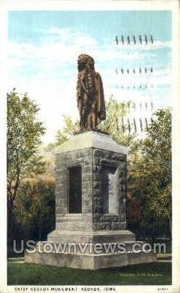 Chief Keokuk's Monument - Iowa IA Postcard