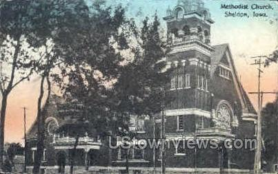 Methodist Church - Sheldon, Iowa IA Postcard