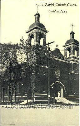St. Patrick Catholic Church - Sheldon, Iowa IA Postcard