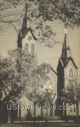 St. John's Catholic Church - Independence, Iowa IA Postcard