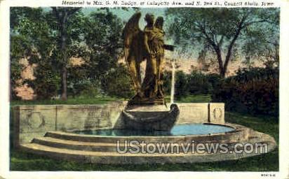 Memorial to Mrs G M Dodge - Council Bluffs, Iowa IA Postcard