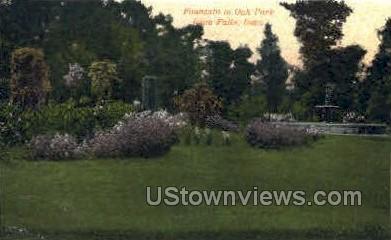 Fountain in Oak Park - Iowa Falls Postcards, Iowa IA Postcard