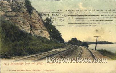 Mississippi River and Bluffs - Clinton, Iowa IA Postcard