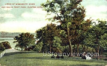 Views of Mississippi River - Clinton, Iowa IA Postcard