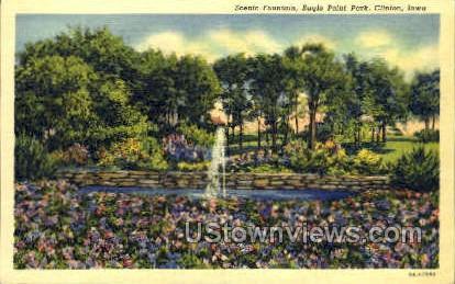 Scenic Fountain Eagle Point Park - Clinton, Iowa IA Postcard