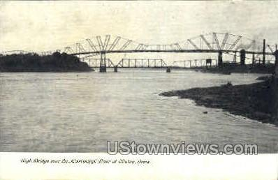 High Bridge over Mississippi River - Clinton, Iowa IA Postcard