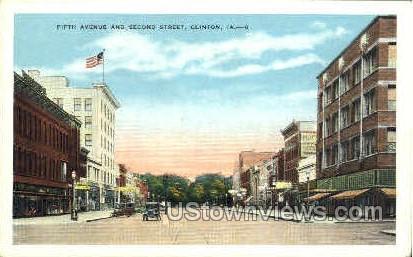 Fifth Avenue and Second Street - Clinton, Iowa IA Postcard