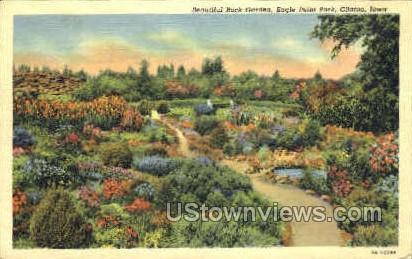 Rock Garden Eagle Point Park - Clinton, Iowa IA Postcard
