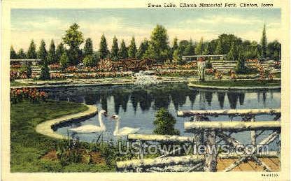 Swan Lake  - Clinton, Iowa IA Postcard