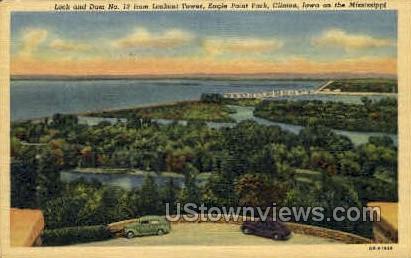 Lock and Dam - Clinton, Iowa IA Postcard