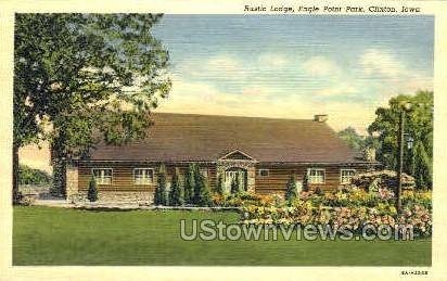 Rustic Lodge Eagle Point Park - Clinton, Iowa IA Postcard