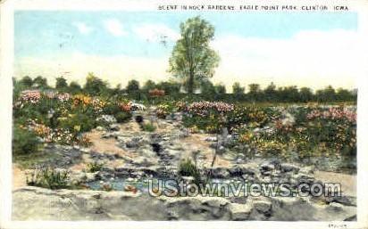 Scene in Rock Gardens - Clinton, Iowa IA Postcard