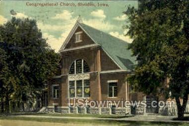 Congregational Church - Sheldon, Iowa IA Postcard