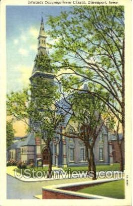 Edwards Congregational Church - Davenport, Iowa IA Postcard