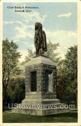 Chief Keokuk Monument - Iowa IA Postcard
