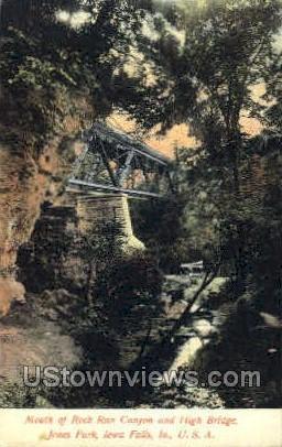 Mouth of Rock Run Canyon - Iowa Falls Postcards, Iowa IA Postcard