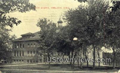 High School - Sheldon, Iowa IA Postcard