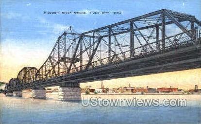 Missouri River Bridge - Sioux City, Iowa IA Postcard