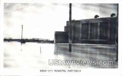 Minicipal Auditorium Flood 1952 - Sioux City, Iowa IA Postcard