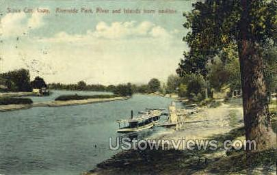 Riverside Park and Islands - Sioux City, Iowa IA Postcard