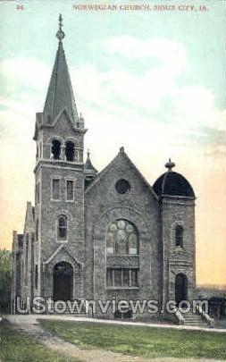 Norwegian Church  - Sioux City, Iowa IA Postcard