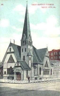 1st Baptist Church - Sioux City, Iowa IA Postcard