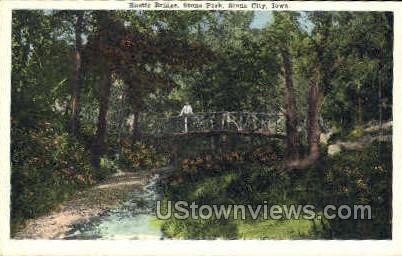 Rustic Bridge in Stone Park - Sioux City, Iowa IA Postcard