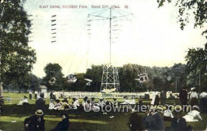 Giant Swing, Riverside Park - Sioux City, Iowa IA Postcard