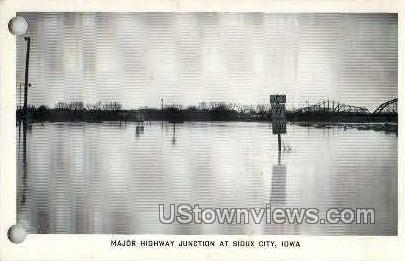 Major Highway Junction Flood 1952 - Sioux City, Iowa IA Postcard