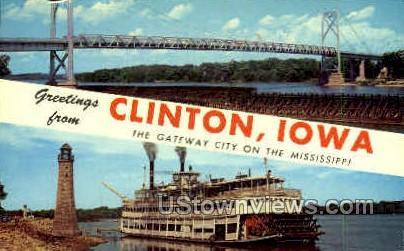 Greetings  - Clinton, Iowa IA Postcard