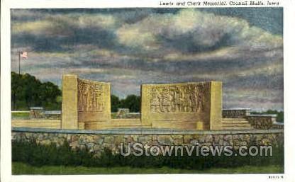 Lewis and Clark Memorial - Council Bluffs, Iowa IA Postcard