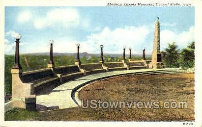 Abraham Lincoln Memorial - Council Bluffs, Iowa IA Postcard