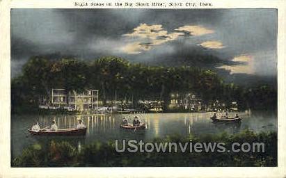 Big Sioux River at Night - Sioux City, Iowa IA Postcard
