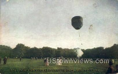 Balloon Ascension at Riverside Park - Sioux City, Iowa IA Postcard