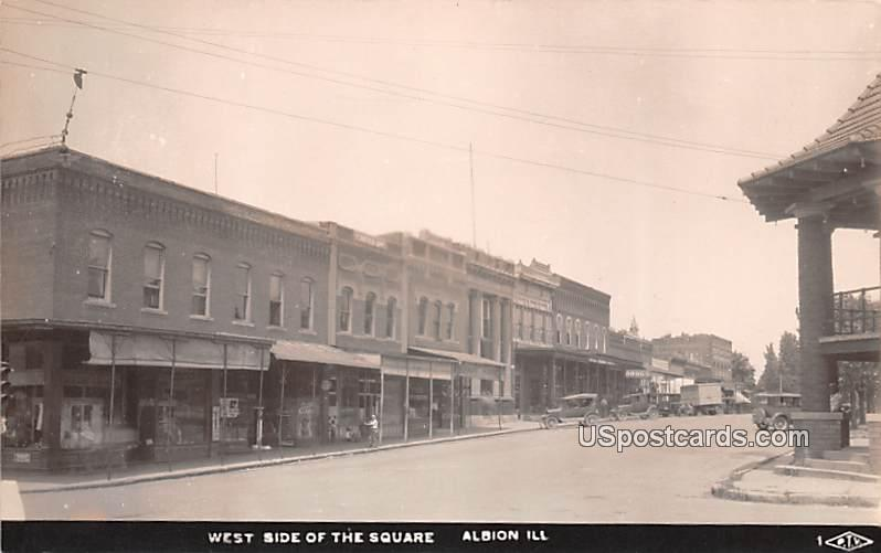 West Side of Square - Albion, Illinois IL Postcard