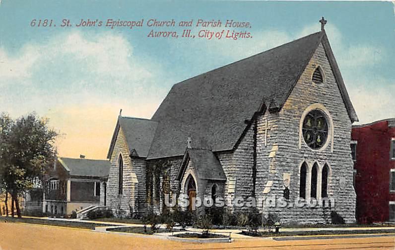 St John's Episcopal Church & Parish House - Aurora, Illinois IL Postcard
