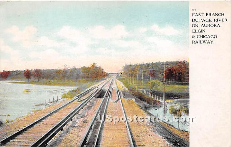 East Branch Du Page River - Aurora, Illinois IL Postcard
