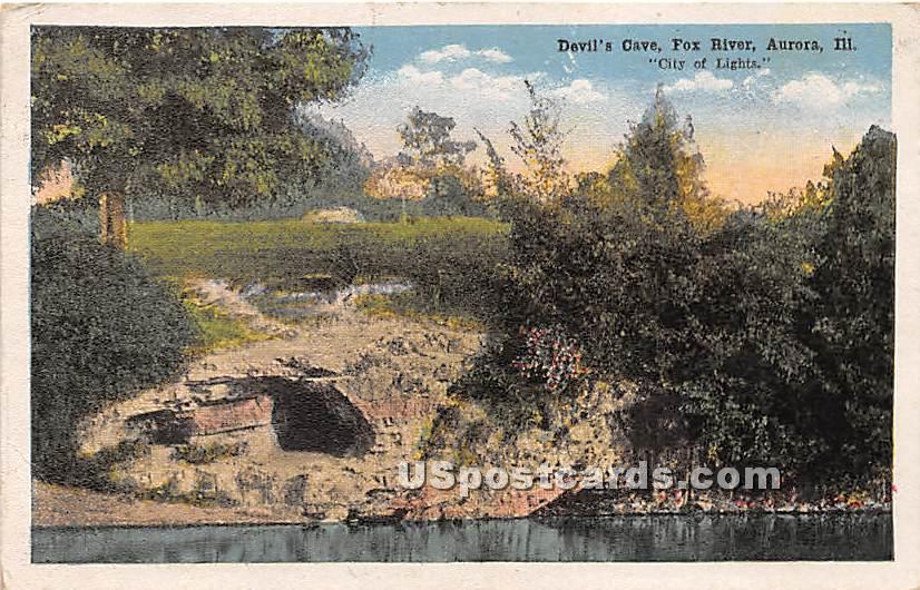 Devil's Cave, Fox River - Aurora, Illinois IL Postcard