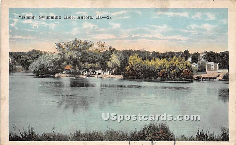 Island Swimming Hole - Aurora, Illinois IL Postcard