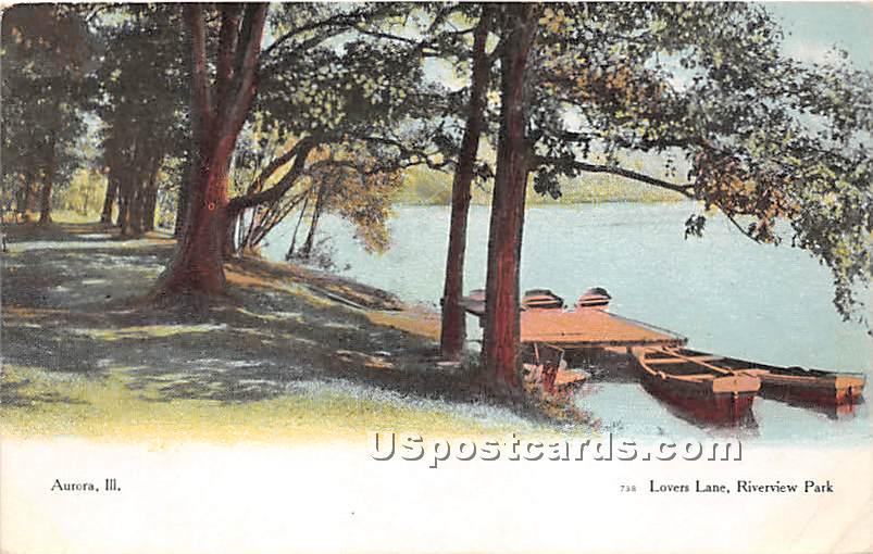 Lover's Lane, Riverview Park - Aurora, Illinois IL Postcard